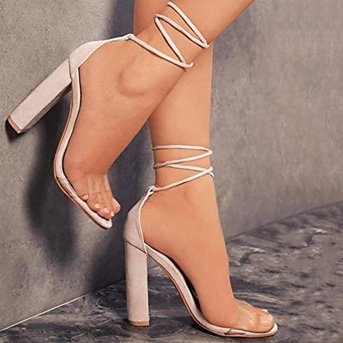 YHCS Mujeres de Verano Tacones Altos Zapatos Sandalias Transparentes Gladiador Tobillo Correa Atractiva Bomba Femenina Fiesta Boda Damas más tamaño