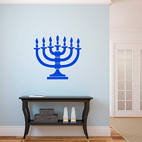 Vinyl Wall Art Decal - 7 Menorah Candles - 21' x 23' - Jewish Holiday Candelabrum Decoration Sticker - Indoor Outdoor Home Office Wall Door Window Bedroom Workplace Decor Decals (21' x 23', Blue)