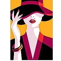 5D DIYダイヤモンドペインティングキット漫画の女性クロスステッチダイヤモンド刺繡帽子パターンフルラインストーンモザイク家の装飾アート番号ラインストーンアクセサリー40x50cmフレームなし