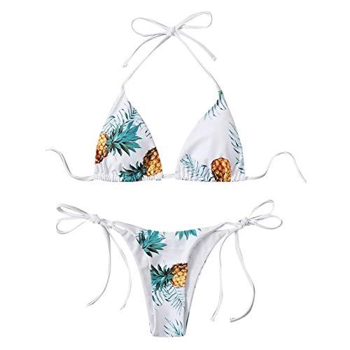 uiou Damen Spaghettiträger Ausschnitt Ananas Print Krawatte Cami Bikini Set Badeanzug, N210530030