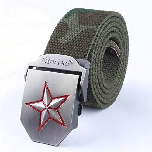 NSXLSCL Cinturón Táctico Militar - Cinturón De Lona Unisex con Hebilla De Metal con Pentagrama Rojo - Cinturón Elástico Tejido Informal Ajustable para Hombres Y Mujeres Correa De Cintura Deport