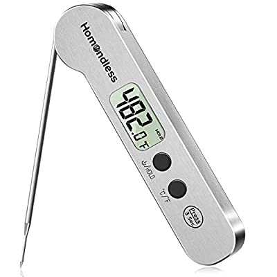 2021 Upgraded Meat Thermometer, Instant Read Stainless Steel Ultra-Fast Digital Food Cooking Thermometer, IP67 Waterproof, Magnet, Backlight for Kitchen Food Cooking from Homendless