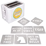 2-Slot Impression Toaster with 8 Interchangable Happy Morning Novelty Design Plates - Make Breakfast Happy! Fun Gift for Mother's Day