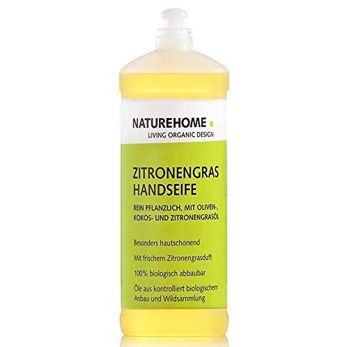 NATUREHOME Bio Savon pour les Mains Citronelle 1L Savon Naturel Savon Liquide Savon Liquide Doux Végétalien Bouteille de Recharge Essence de Citron