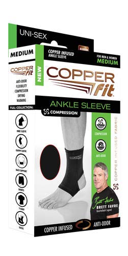 Copper Fit Original Recovery Ankle Sleeve, Black with Copper Trim, Medium, Packaging May Vary