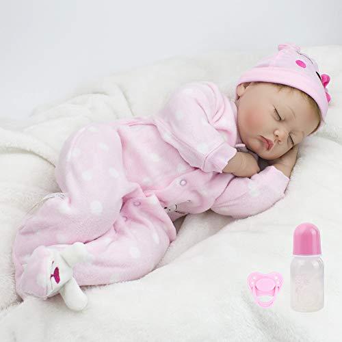 CHAREX Reborn Sleeping Baby Girl Doll Soft Vinyl Lifelike Realistic 22 inch Weighted Newborn Dolls Gift Set