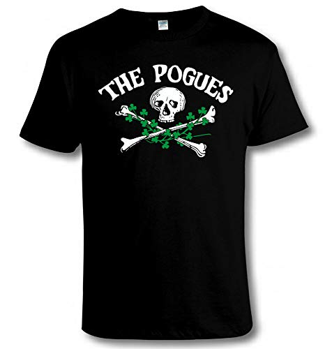 The Pogues Skull & Crossbones & Shamrocks T Shirt Irish Punk Music Tribute Tee