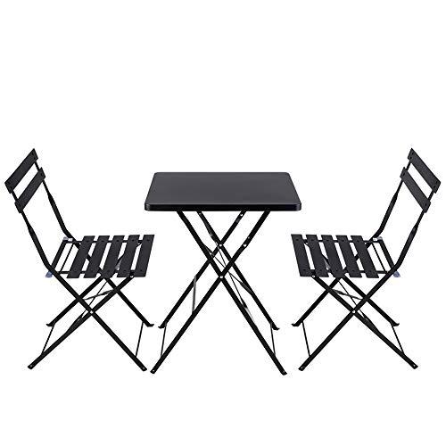 jianpanxia Gartenmöbel Set,Stahl Gartenmöbel Set, Leichtgewicht, Klappdesign, Bistro Set 3 teilig, 2 Stühle und 1 Tisch, Klapptisch-Stühle für Balkon