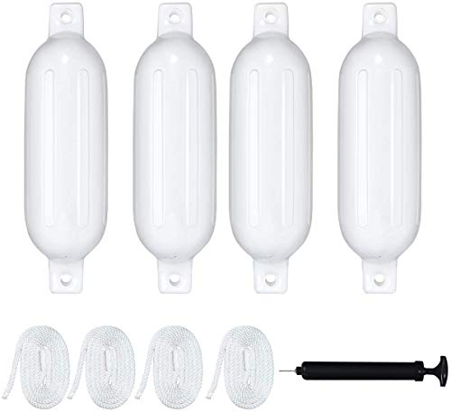 """ACY Marine Boat Fender 5.5"""" x 20"""" 4 in 1 Pack with Bump and Fender line"""