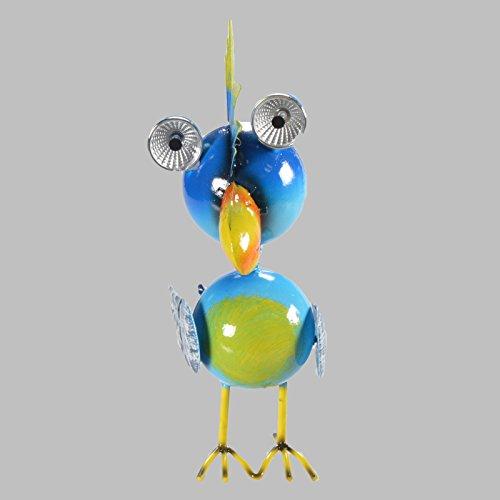 23 cm Tierlampe Vogellampe Solar Dekolampe Metall Garten Gartenlampe Leuchte (Vogel (Blau))