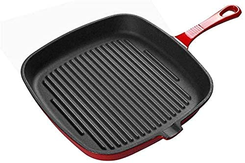 JiangKui Saucepan Skillet Wok Non-Stick Griddle Pan Cast Iron Frying Pan Flat Bottom Skillet Delicious Chargrilled Meat Chicken Fish and Veg Free Send Sponge24cm Red