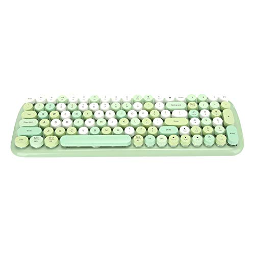 Wireless Keyboard, Bluetooth 5.1 Retro Style Keyboard with Round Keycaps, 6-10m Transmission Distance, Ergonomic, Quiet, for PC, Laptop, Tablet, Mobile Phone(Green)