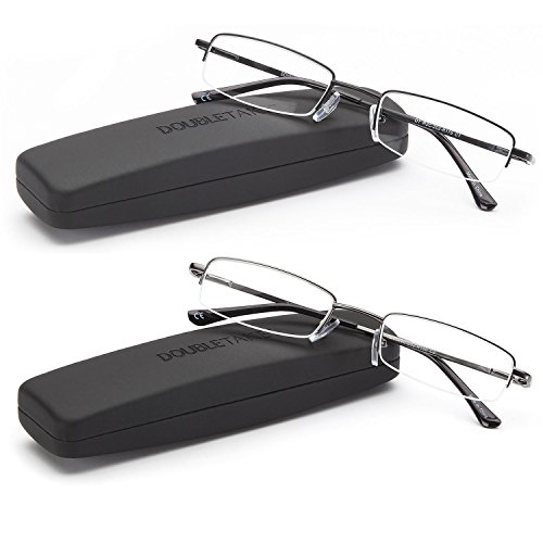 DOUBLETAKE Reading Glasses - 2 Pairs Compact Case Semi Rimless Readers - 1.50