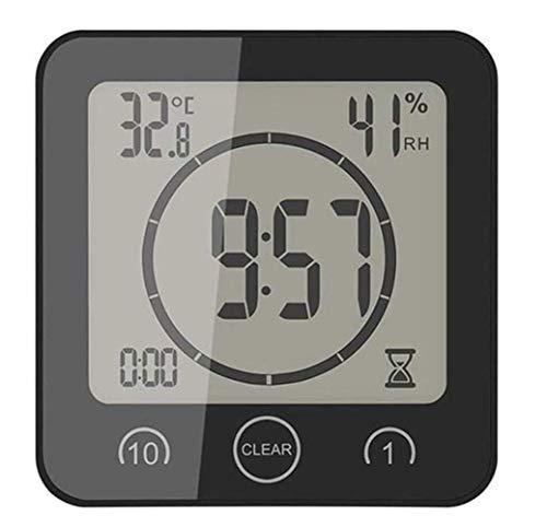 WYZQ Termómetro Ambiental electrónico LCD Digital Medidor de Humedad Higrómetro Estación meteorológica Acuario Baño Interior con Reloj Despertador, Negro, Relojes