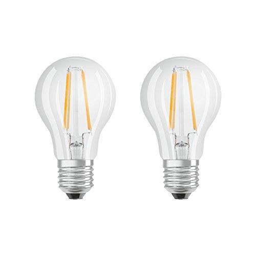 Osram LED Bombilla Retrofit Classic A, forma de bombilla con casquillo E27, no regulable, reemplaza 60 vatios, estilo filamento transparente, blanco cálido - 2700 Kelvin, paquete de 2