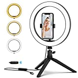 PoplarTrees Selfie Ring Light 10'' with Tripod & Cell Phone Holder and Remote