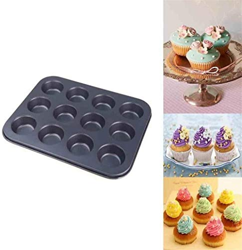 Mini 12 cup anti-aanbaklaag pan bakplaat muffin bakvorm pan cupcake tin cupcake pudding dessert chocolade muffin broodjes vorm cake bakgereedschap - 25 x 20,5 x 2 cm