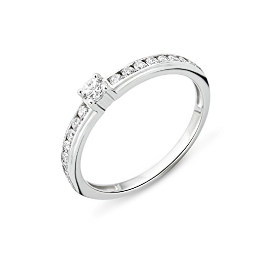 MIORE Ladies 925 Sterling Silver Zirconia Engagement Ring - Size O