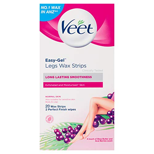 Veet Ready to Use Leg Wax Strips for Short Hair - Shea Butter & Berry - 20 Strips