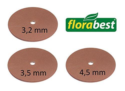 Florabest 3er Set Schleifscheibe 3,2 + 3,5 + 4,5 mm für Florabest Sägekettenschärfgerät FSG 130 Lidl IAN 33327 - Ersatz Schleifscheibe für Kettenschärfgerät