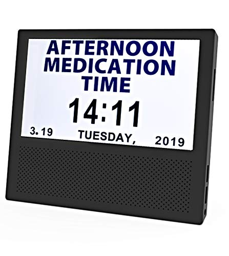 [SANTEK] SAC0700 Digital Medicine Clock and Photo Frame Medication Reminders with 8 Alarm Options Calendar 7inch 1024x600 IPS Clear Display Large Letters - Black