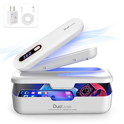 DuoLuxe UV Light Sanitizer Box - UV Light Sanitizer Wand - Multi-Functional UV Sterilizer, Phone Sanitizer - Kills 99.9% of Bacteria & Virus - Portable, Rechargeable, Ultraviolet Light Sanitizer