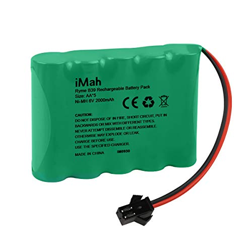 iMah Ryme B39 5-Cell 6V AA Battery Pack with SM-2P Connector, 2000mAh High Capacity Ni-MH Rechargeable for 1/14 1/18 1/20 High Speed Radio Remote Control Car Off Road RC Truck Buggy