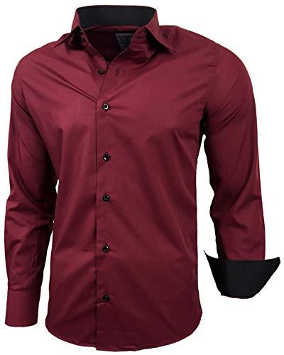 Baxboy Herren-Hemd Slim-Fit Bügelleicht Für Anzug, Business, Hochzeit, Freizeit - Langarm Hemden für Männer Langarmhemd R-44, Farbe:Bordo, Größe:L
