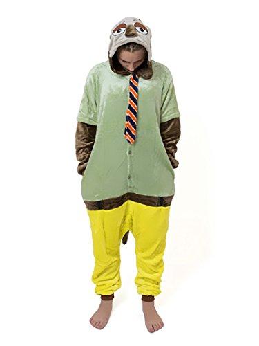 Unisex Zootopia Zoomania Judy Hase Nick Fuchs Faultier Onesie Kigurumi Pyjama Karneval Kostüm Maskenkostüm Kapuzenpulli Schlafanzüge Faultier, XL(Height 180cm-190cm)