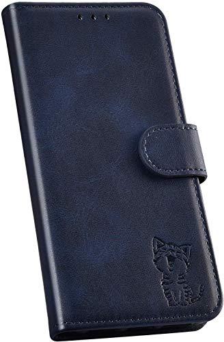 Ysimee Handyhülle kompatibel mit Huawei P20 Lite Leder, Einfarbig Blau Schutzhülle Brieftasche mit Kartenfach e Katze Muster, Klappbar Stoßfest Kratzfest Hülle Flip Handy Tasche Schale