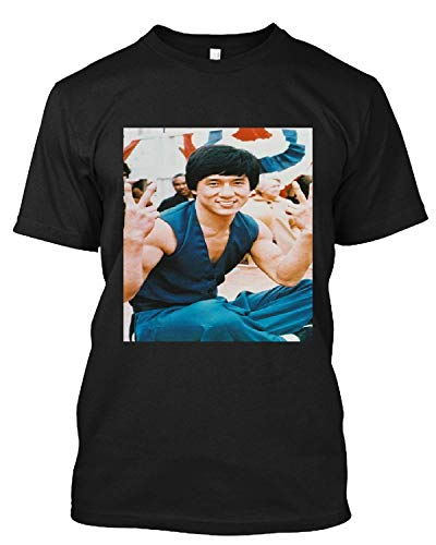 #Jackie #Chan #Cool #Pose #Doing Victory/Peace Sign T Shirt Gift Tee for Men Women Unisex T-Shirt (Black-2XL)