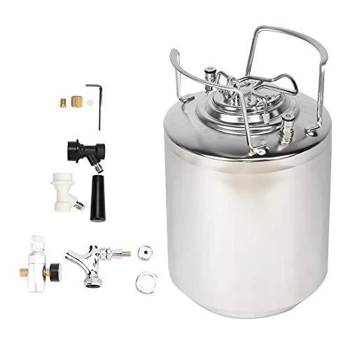 Mini barril de cerveza presurizada Syste, barril de cerveza de acero inoxidable 304 de 10L Barril de cerveza Juego de conector de cargador de CO2 Accesorio de cerveza casera