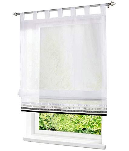 BAILEY JO 1er-Pack Raffrollo mit Satinband Gardinen Voile Transparent Vorhang (BxH 120x155cm, Schlaufen)