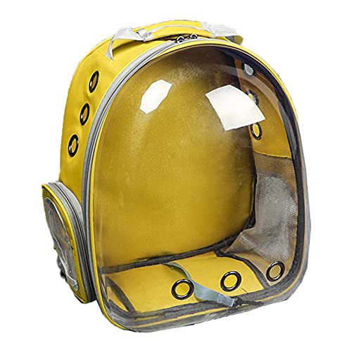 TIANLU Portador de cápsulas Astronaut Pet Cat Dog Puppy Carrier Bolsa de viaje Space Capsule Mochila transpirable-# 2-Amarillo (panorámico)
