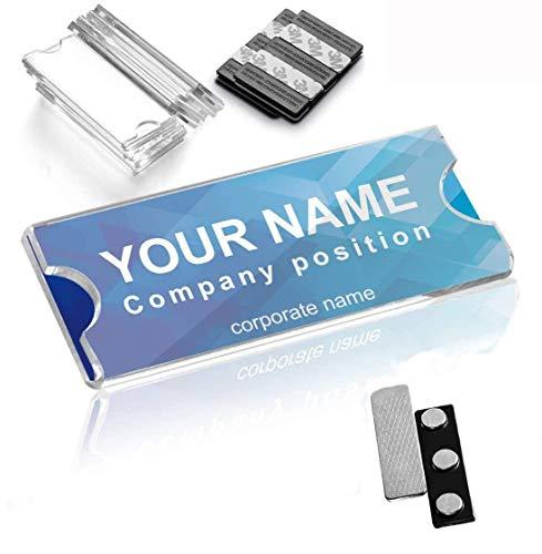 Wukong Magnetische Namensschilder,Magnetische Ausweishalter mit 3 starken Neodym-Magneten,3M Klebeband,Acryl-Mini-Zeichen-Displayhalter und bedruckbares Namensschild,Firmenname/ID-Abzeichen-10 Stück