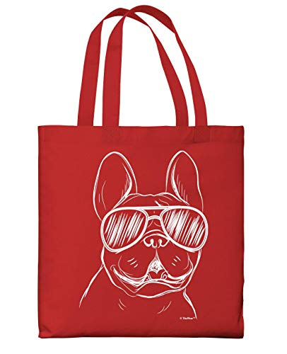 Travel Accessories French Bulldog Wearing Sunglasses Red Canvas Tote Bag