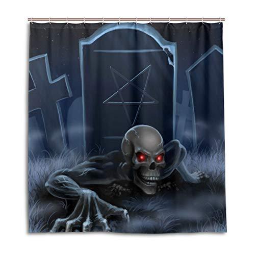 CPYang Duschvorhänge Halloween Zombie Tombstone Skull Wasserdicht Schimmelresistent Bad Vorhang Badezimmer Home Decor 168 x 182 cm mit 12 Haken