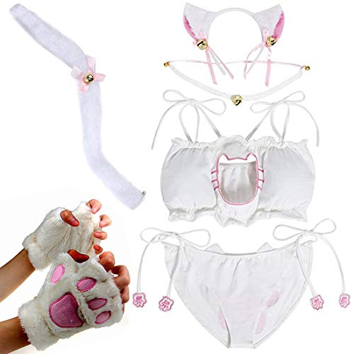 BundleMall Conjunto de lencería para mujer de cosplay de gatito y gato sexy para disfraz (pequeño, blanco)