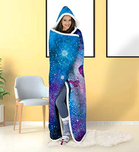 ALISISTER Hooded Blanket Adult Women Men 3D Paint Fire Sherpa Plush Fleece Wearable Throw Blanket 60...