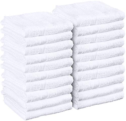 Utopia Towels White Salon Towels, Pack of 24 (Not Bleach Proof, 16 x 27 Inches) Highly Absorbent Towels for Hand, Gym, Beauty, Hair, Spa, and Home Hair Care
