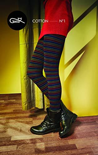 Gatta Strickstrumpfhose aus Baumwolle mit Muster (G88716-01) - hoher Baumwollanteil - gemusterte Baumwollstrumpfhose gestreift bunt - Designed & Made in EU - Größe M