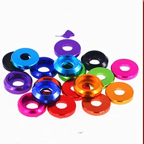 10 piezas M2 M2.5 M3 m5 m6 m8 arandela de cabeza de copa de aluminio colorida para tornillo de cabeza de botón-m2.5 10 piezas, azul claro