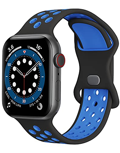 Watch Band Compatible with Apple Watch Band 38mm 40mm 41mm Women Men iWatch Band Soft Silicone Sport Strap Wristband Compatible with Apple Watch Series 7 6 5 4 3 2 1 SE(Black+Blue)