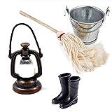 witgift Accesorios para casa de muñecas, mini lámpara de aceite, cubo, juego de goma para lluvia, barcos, decoración de cocina, casa, jardín