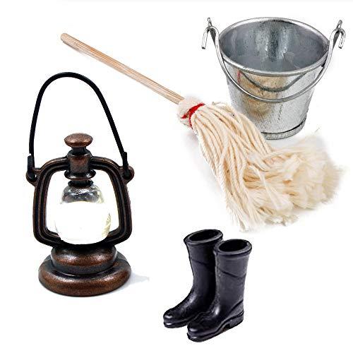 witgift Puppenhaus Zubehör Mini Vintage Öllampe Mop Eimer Set Rubber Rain Boots Mini Ornament Küche Haus Garten Möbel Deko