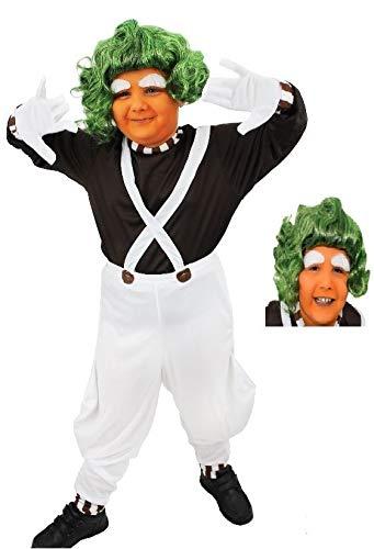 ILOVEFANCYDRESS Disfraz DE OBRERO DE LA FABRICA DE Chocolate con Peluca Verde para NIÑOS Carnaval O Fiestas TEMATICAS(S)