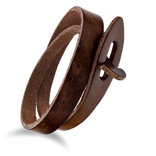 """Design in Leather Leder Armband Kollektion \""""ferne Prärie 1.0\"""" Steckverschluss zum wickeln inkl. Geschenktasche (braun)"""