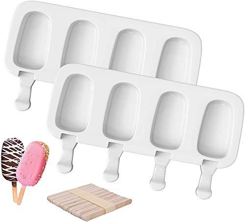 SUFUS Moldes para Helados de Silicona, 8 Pack Juego de Moldes para Polos, de Grado Alimenticio, sin BPA, para Niños, Adultos, Postre, Chocolate, Bricolaje(con 100 unids Palos de Madera)