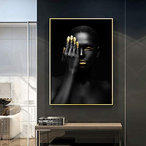 DIY Malen nach Zahlen Schwarze und goldene nackte Afrikanerin mit Halskette Mit Pinsel und Acrylfarbe Erwachsenenfarbe nach Zahlen Digitale Kunst Geeignet für die Wohnzim40x50cm(Kein Rahmen)