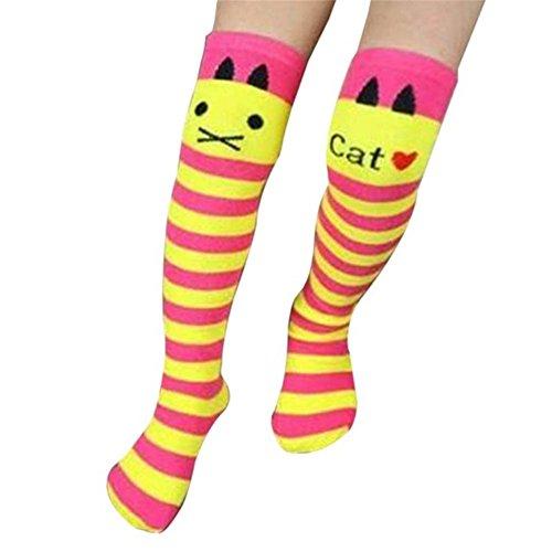 Qinlee Kinder Long-Barreled Socke Niedlich Katzen Stil Overknee Socken Elastischer Baumwolle Sock Frühling-Sommer Freizeit Socke für Mädchen